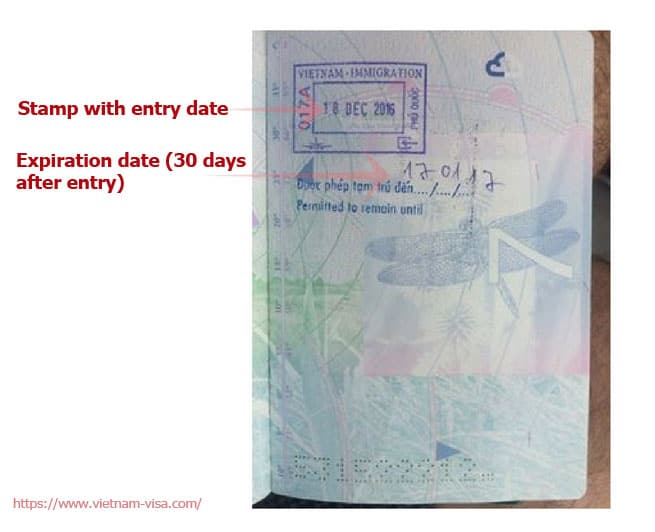 Sample of Phu Quoc visa exemption stamp in the passport