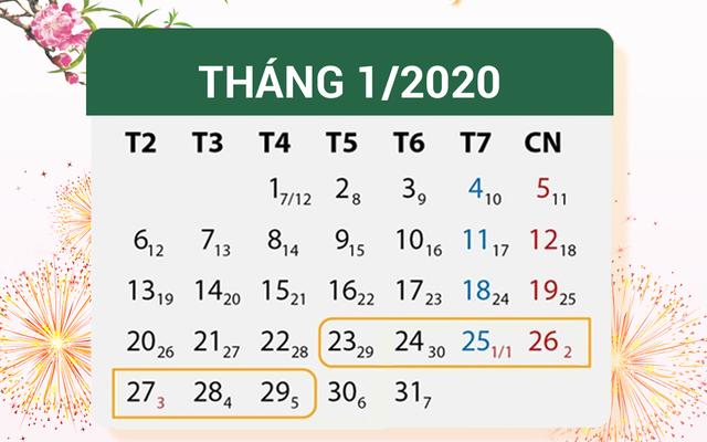 Lịch nghỉ Tết 2019 - 2020 (Tết Nguyên đán Canh Tý)